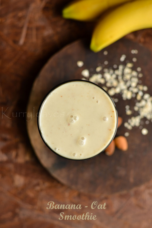 banana oat smoothie   breakfast smoothie recipe