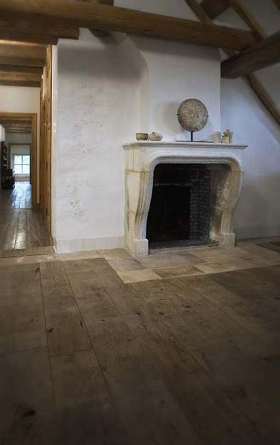 Reclaimed Wide Plank Floors, Fireplace Surround via Antiek Amber, as seen on linenandlavender.net