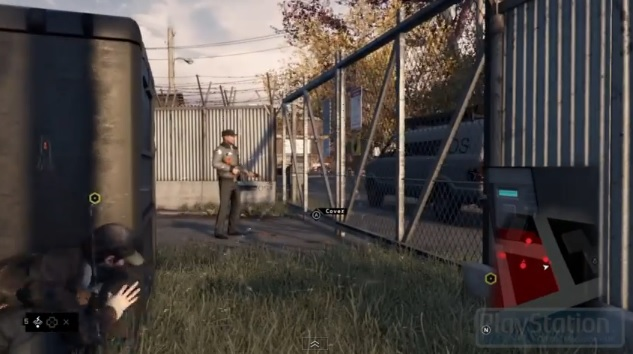 Protagonist Aiden Pearce sneaking up on guard in video game Watch_Dogs