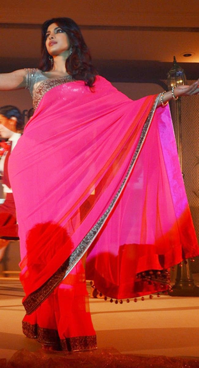 Priyanka Chopra in a Deep pink Embroidered Saree and Golden shining blouse