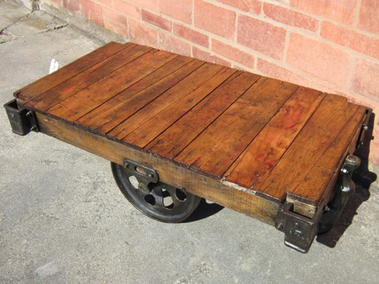 Antique furniture factory cart coffee table