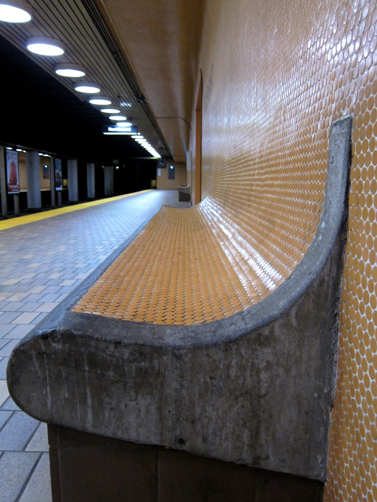 Bench at Dupont station platform level