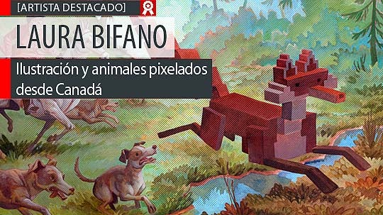Ilustración y animales pixelados de LAURA BIFANO