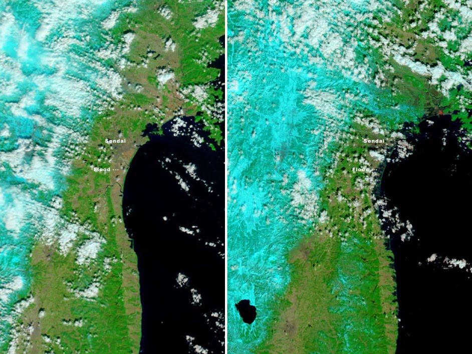 image satellite du japon avant après le tsunami