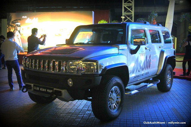 The official Club Asahi Miami Hummer on display outside