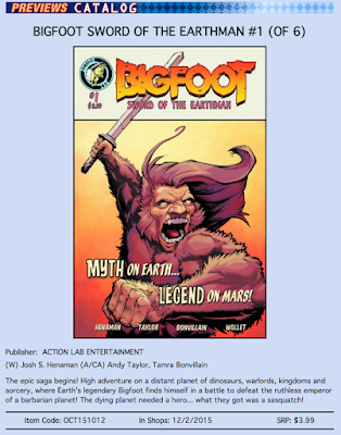 action lab bigfoot sword of the earthman bigfoot comic wednesday issue one action lab entertainment bigfoot comic book graphic novel barbarian comic