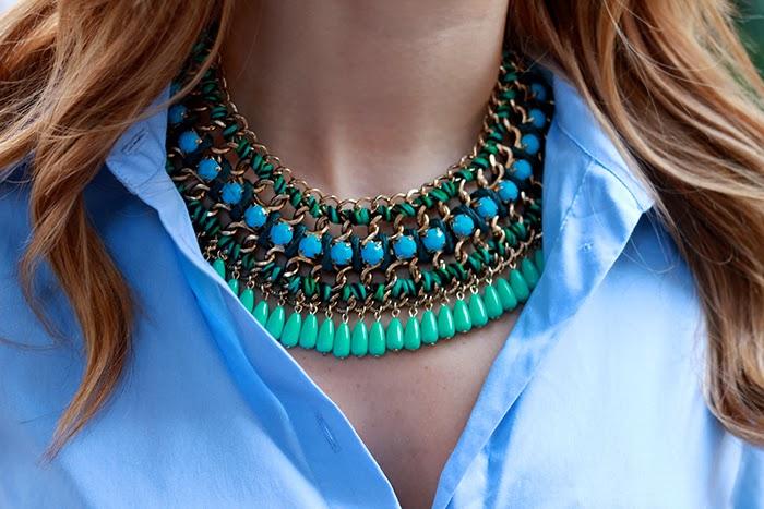 zara collier bleu vert