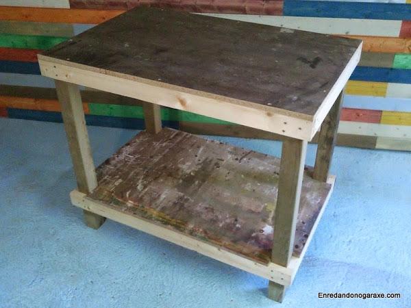 Banco de trabajo de taller hacer bricolaje es for Como hacer mesa de trabajo con palets