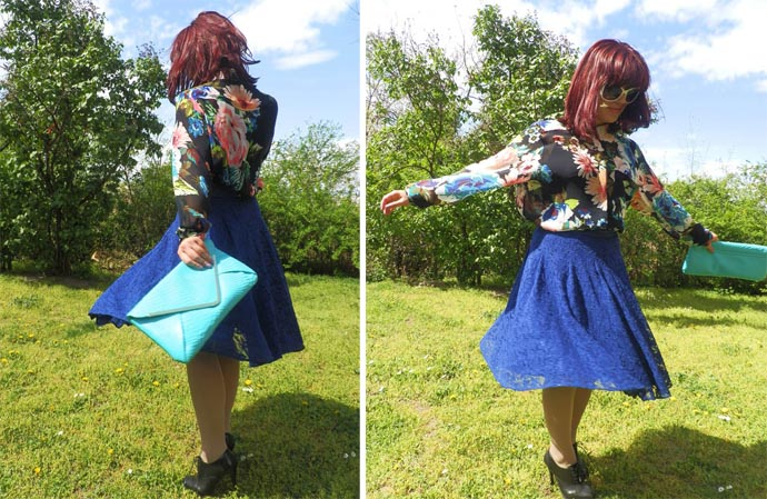 Outfit I am wearing: royal blue full lace skirt designed and handmade by my mom; floral print semi sheer shirt & big white Sunnies from H&M; Turquise snakeskin Clutch from Primark; Black heeled Oxford Shoes from Vera Pelle