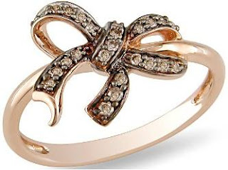 10k Rose Gold Brown Diamond Bow Ring