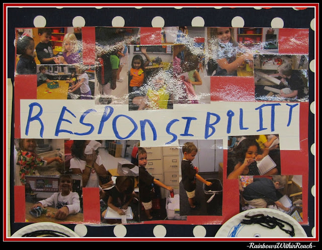 photo of: Photograph collage of kindergarten children enacting positive behavior Traits