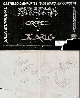 entrada de concierto firmada por saratoga