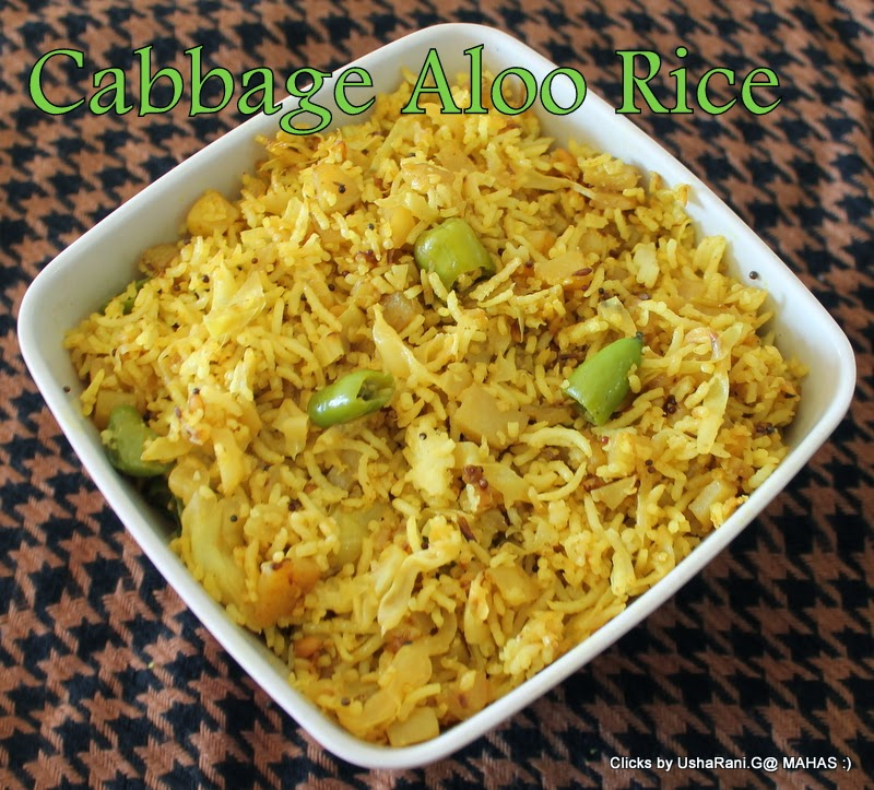 Mahaslovelyhome cabbage potato rice aloo cabbage rice for Indian potato recipes for lunch