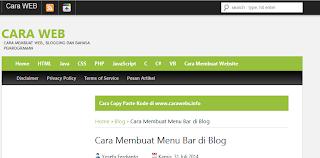 Cara Membuat Menu Bar di Blog