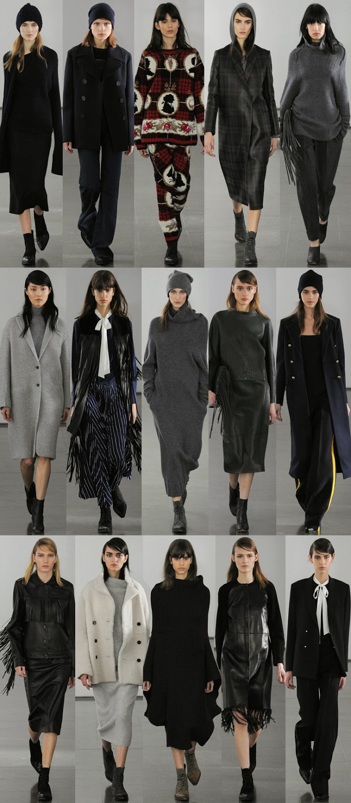 Joseph fall winter 2014 runway collection, FW13, AW14, London fashion week, minimalism, tassels