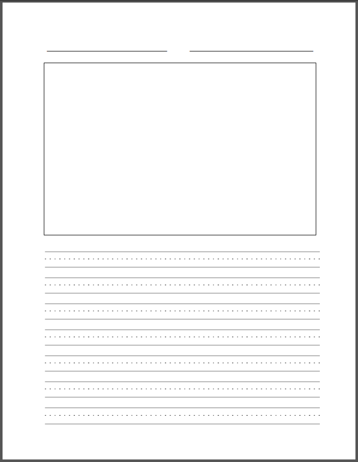 printable handwriting paper with picture box Writing paper handwriting lines and small box nd grade kindergarten writing   writing paper with picture box math worksheet service for you printable writing.