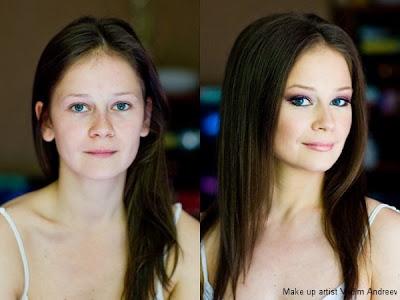 chica bonita con y sin maquillaje