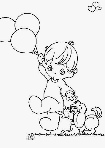 desenho de menino do preciosos momentos com balões e cachorrinho para pintar em tecido