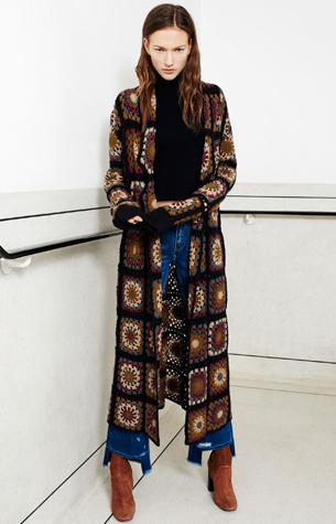 abrigo patchwork crochet Zara