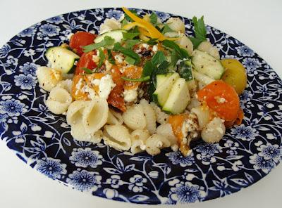 Pasta Salad with Roasted Tomatoes, Zucchini, Feta and Lemon
