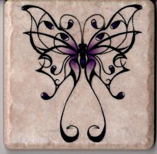 Fancy Purple Butterfly on 4 in x 4 in Ceramic Tile Wall Art