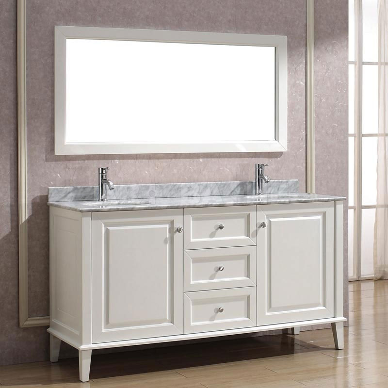fresh look of a white bathroom vanity