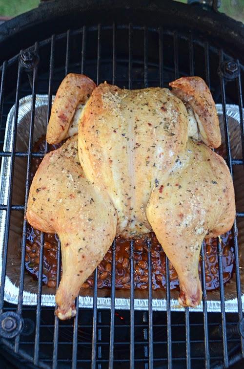 kamado spatchcock chicken