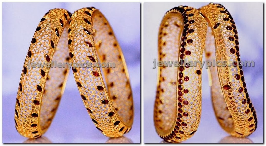 filigree art gold bangles at bhima jewellers