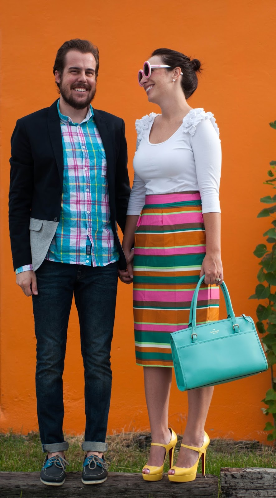 his and her style, couples fashion, couples style, kate spade handbag, sperry topsider, all saints cigarette jeans