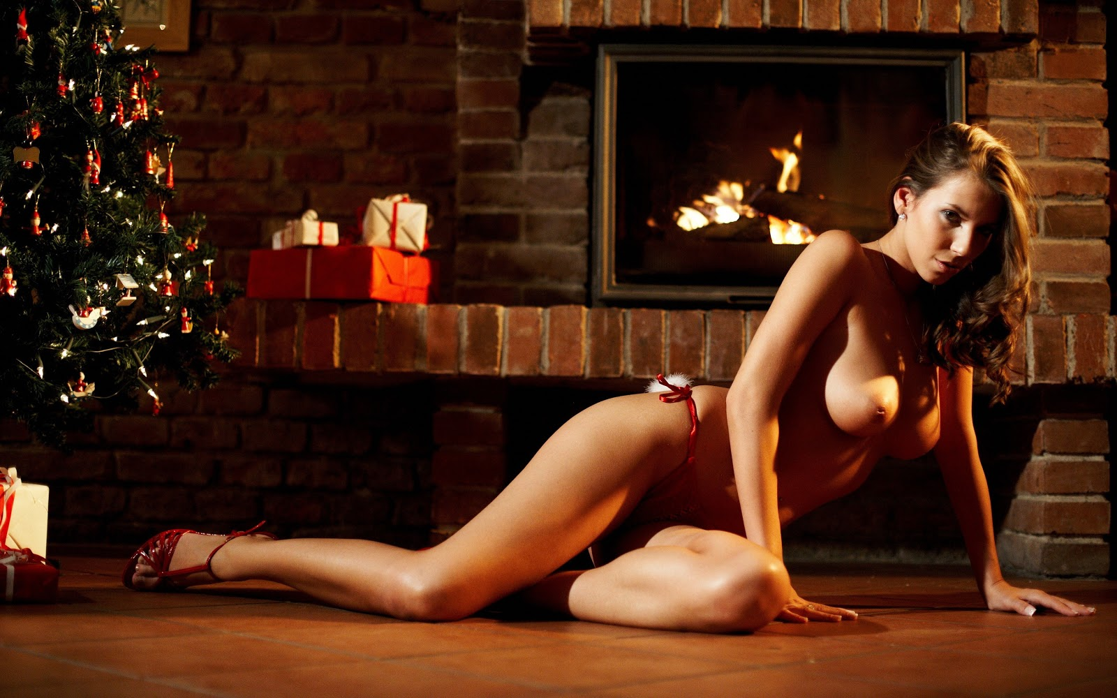Christmas erotic nude woman's wallpaper nsfw young models