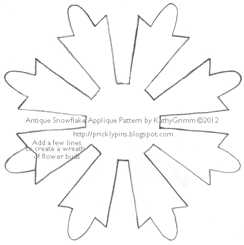 Snowflake Applique Pattern by Kathy Grimm | Prickly Pins