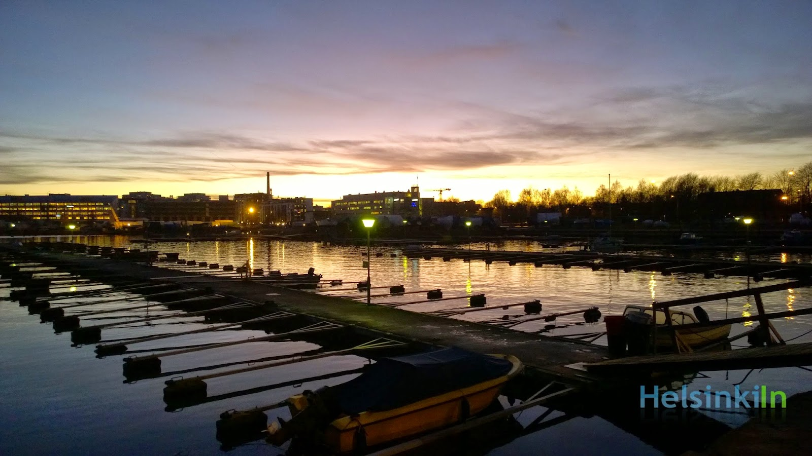 Sunset over harbor in Lauttasaari