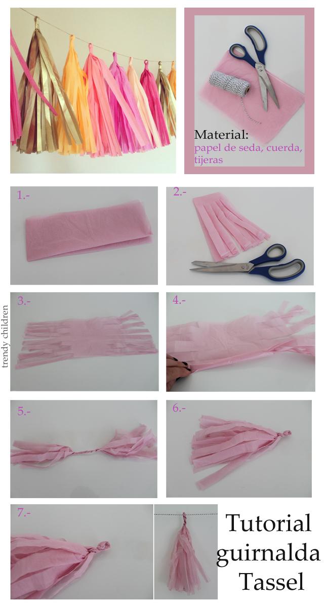 guirnalda tassel o de flecos con papel de seda