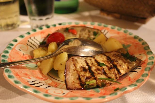Eggplant and potato salad at La Tagliata, Positano, Italy