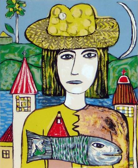 Cuadro de mujer con sombrero, paisaje al fondo con agua, un árbol en plano más cercano 2 torres. la mujer lleva un pez