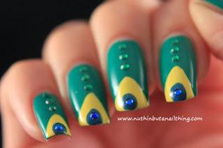 brazil flag nail art