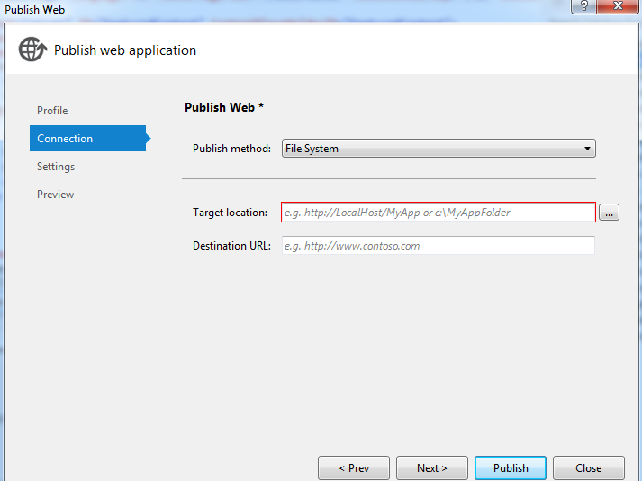 Publish method file system in vs 2012