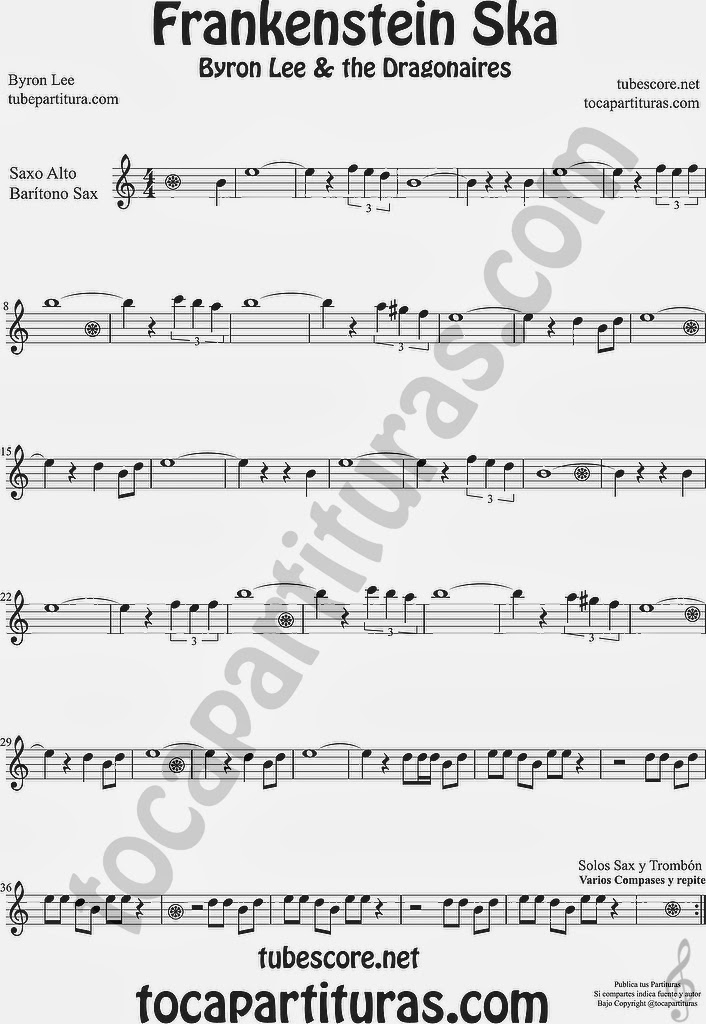 Partitura de Saxofón alto y Sax. Baritono Sheet Music for Alto and Baritone Saxophone Music Scores Byron Lee & The Dragonaires