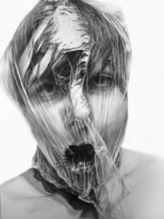Melissa Cooke pinturas ilustrações desenhos grafite hiper-realistas retratos autorretratos preto e branco
