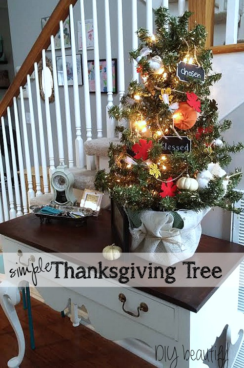 Thanksgiving decorated tree using mini pumpkins and chalkboard signs! See it at diy beautify