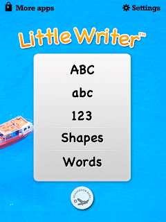 Little Writer - The Tracing App, options