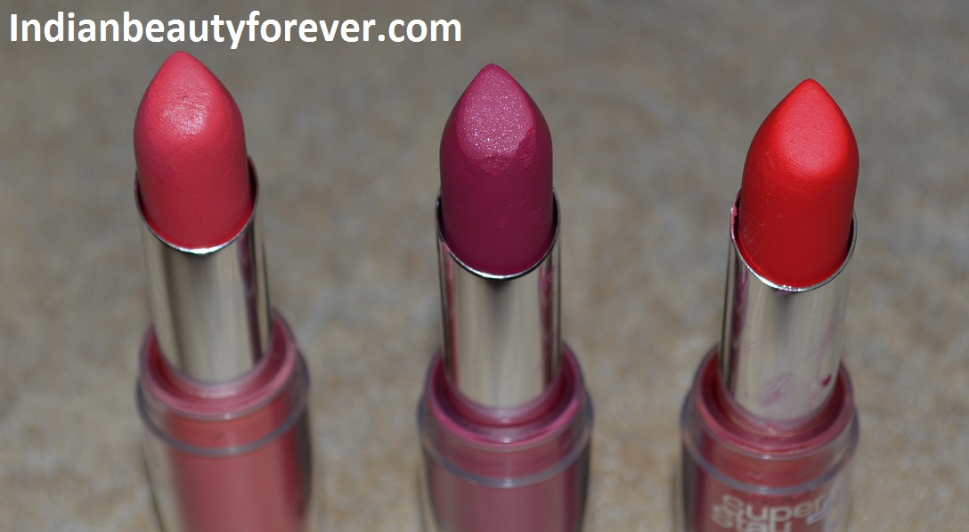 Maybelline Super Stay 14Hr Lipsticks in Persistently Pink, Non-Stop Red, Stay with me Coral