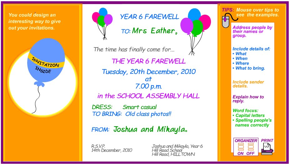 invitation card text
