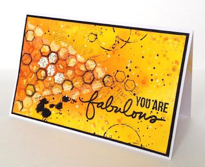 Mixed media, открытка, штампы Ali Edwards Incredible, фон с нуля, самодельные спреи