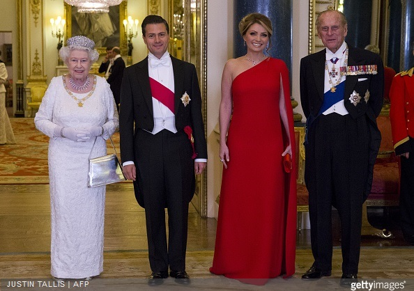 Queen Elizabeth II  and Prince Philip, Duke of Edinburgh, Mexican President Enrique Pena Nieto and his wife Angelica Rivera a state banquet at Buckingham Palace on March 3, 2015 in London