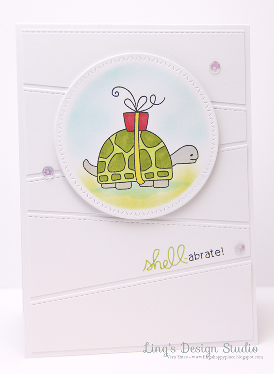 Shell-abrate Card by Guest Designer Vera Yates | In Slow Motion Stamp set by Newton's Nook Designs