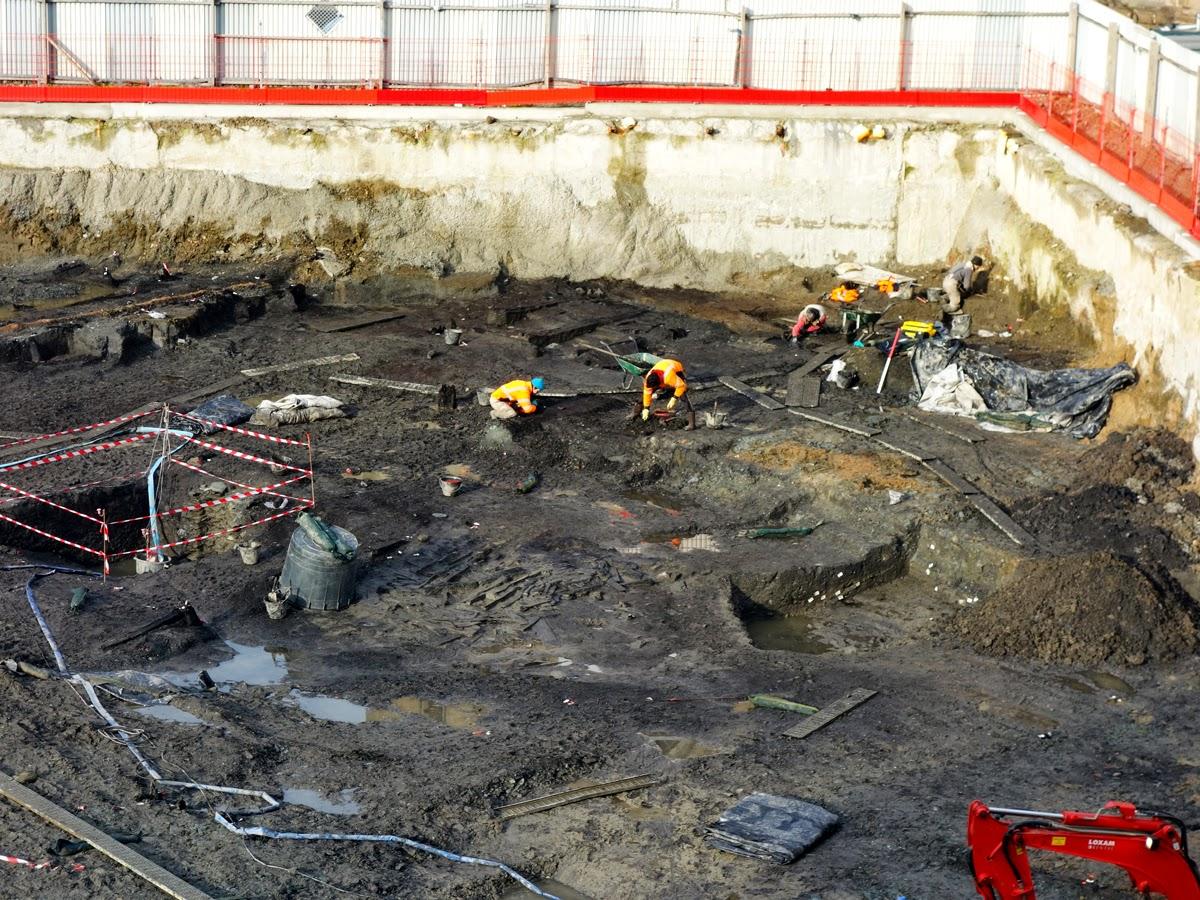 La place Saint-Germain en cours de fouilles - Rennes - 7 Janvier 2015