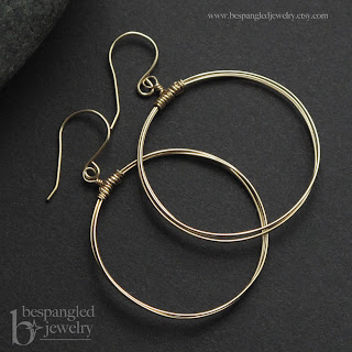 Bespangled Jewelry Signature Wire Hoops, medium size, available in gold or silver
