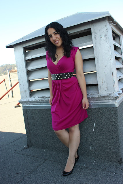 Magenta Dress and Black Studded Belt Outfit