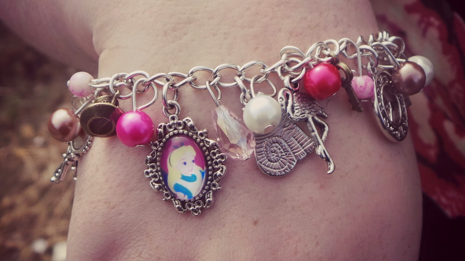 Alice themed charm bracelet